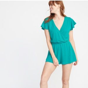 Brand new! Faux-Wrap French-Terry Swim Romper